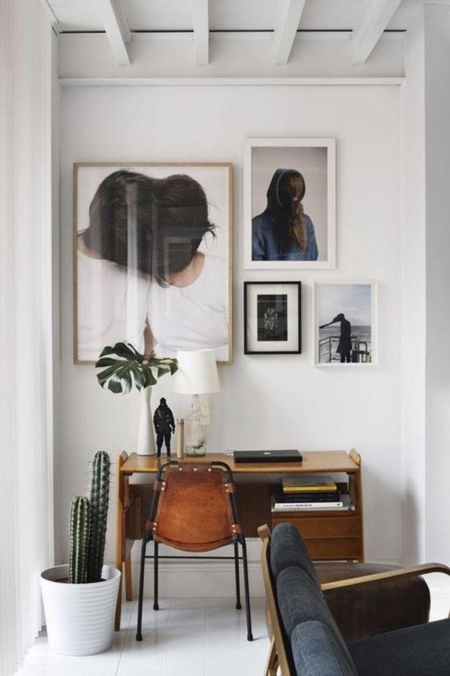 espace bureau salon exemple décoration murale séjour pièce à vivre
