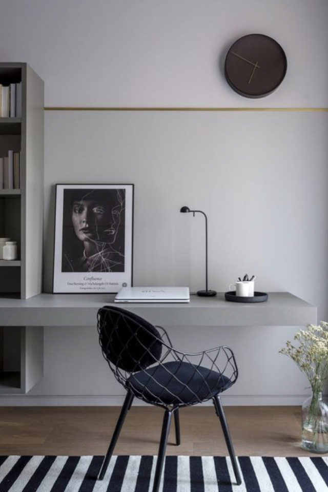 espace bureau salon exemple tablette intégrante à la bibliothèque design architecture intérieure