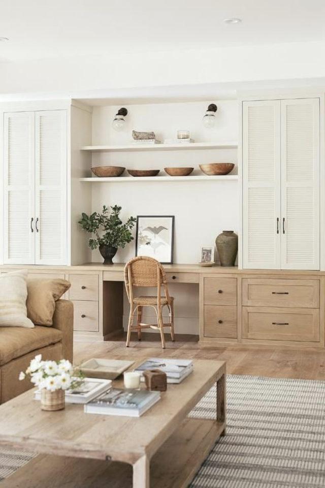 espace bureau salon exemple meuble rangement sur mesure avec espace de travail déco bois et blanc
