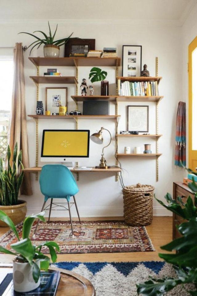 espace bureau salon exemple étagère murale adaptation crémaillères tablette sur mesure petit budget