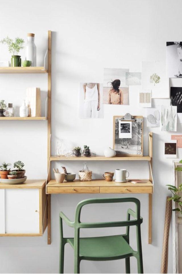 espace bureau salon exemple bois gain de place accroche murale