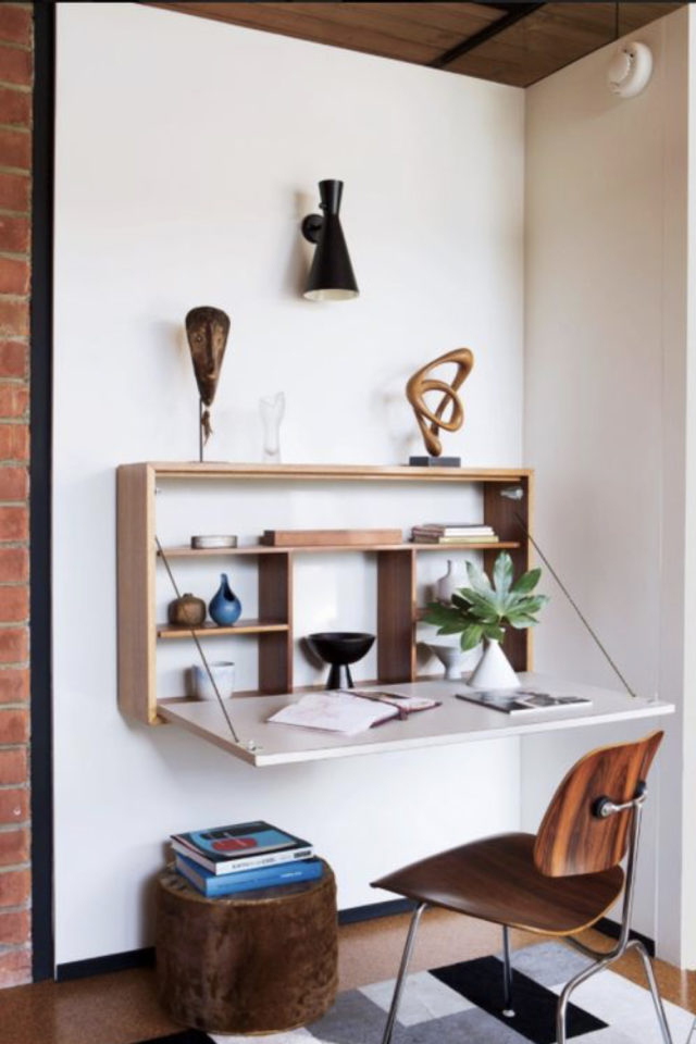 espace bureau salon exemple petit meuble mural bois petit logement gain de place
