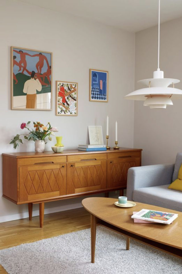 idee deco buffet enfilade mid century espace salon séjour canapé gris