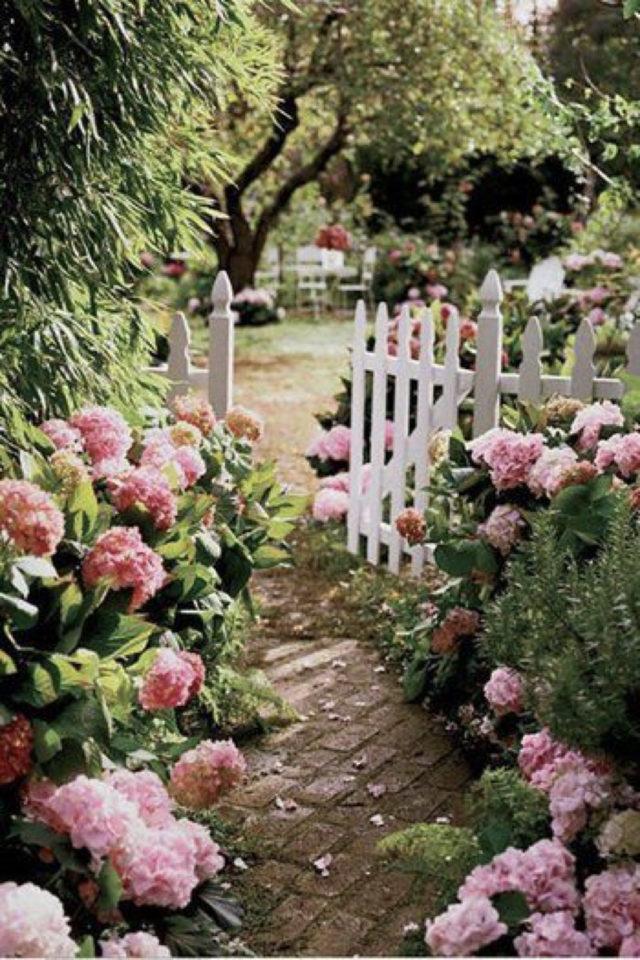 idee  joli jardin fleur rose allée portail blanc bucolique romantique