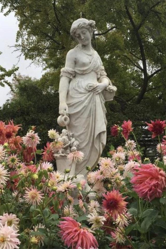 idee  joli jardin fleur rose statue romantisme champêtre