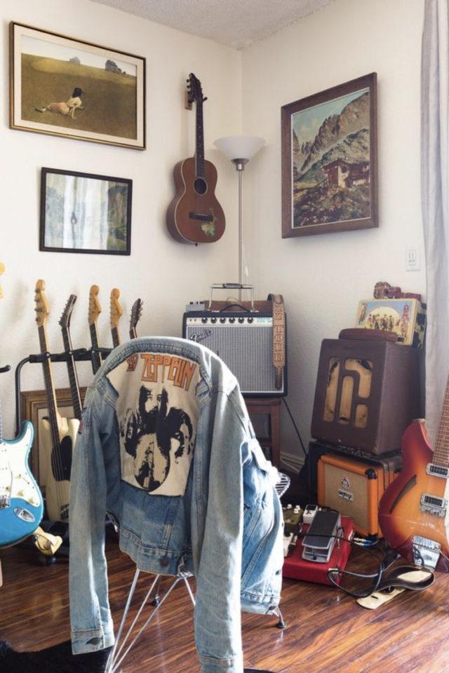 interieur rock decoration murale exemple guitares ampli blouson en jean Led Zep