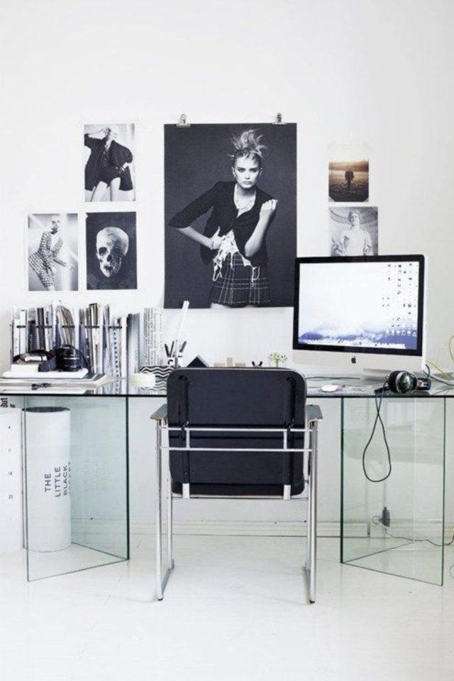 interieur rock decoration murale exemple bureau transparent décor photo noir et blanc