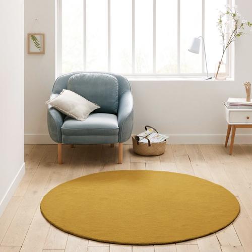 jaune chambre enfant decoration petit tapis rond couleur moutarde