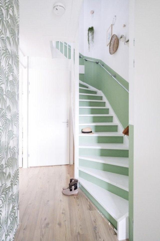 marche escalier peinture exemple contre marche vert blanc céladon
