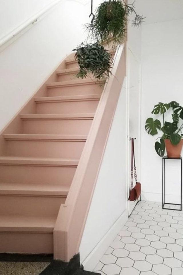 marche escalier peinture exemple ouvert rose marche élégant moderne