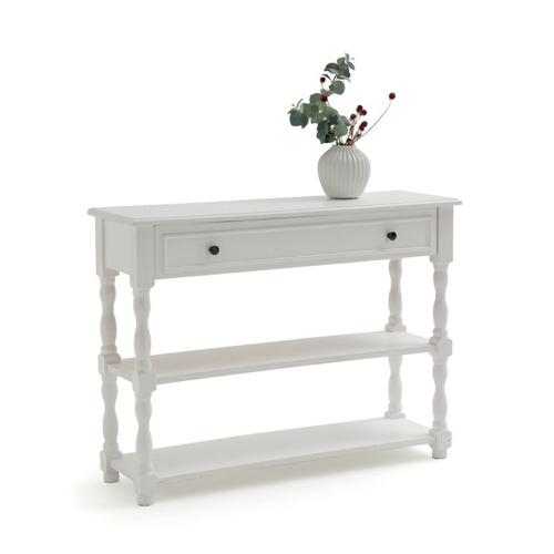 meuble deco entree elegante bois blanc 2 tiroirs