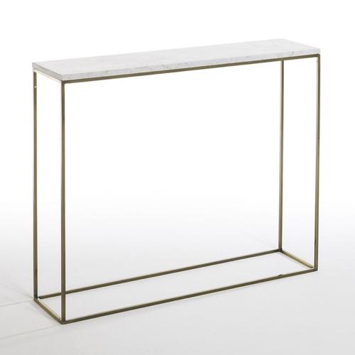 meuble deco entree elegante console piètement or laiton plateau marbre