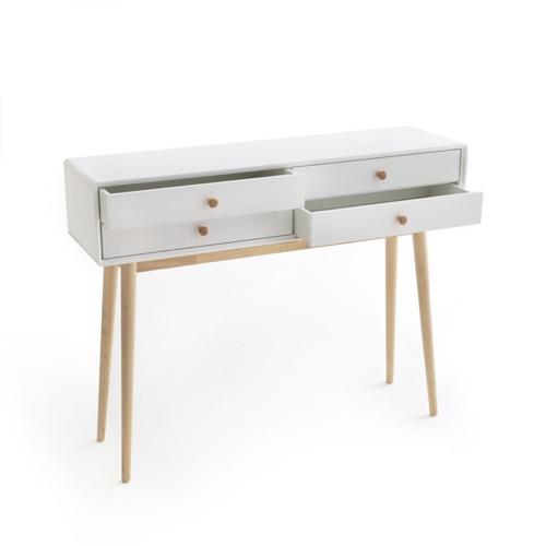 meuble deco entree elegante console blanche et pied en bois 4 tiroirs