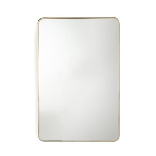 meuble deco entree elegante miroir moderne rectangulaire angle arrondis laiton