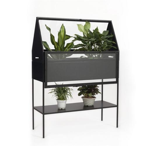 mini serre decoration plante interieure jardinière déco noir métal sur pied