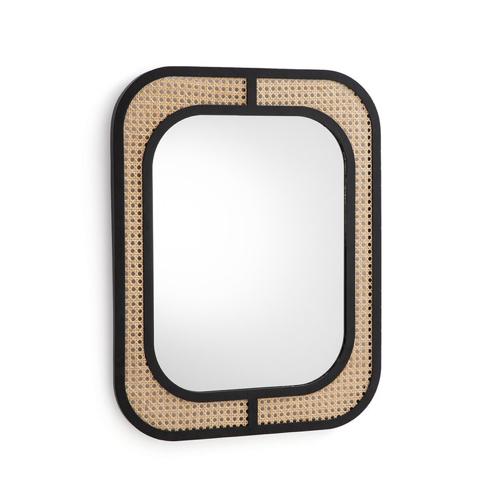 mobilier cannage tendance pas cher miroir angle arrondi encadrement noir élégant
