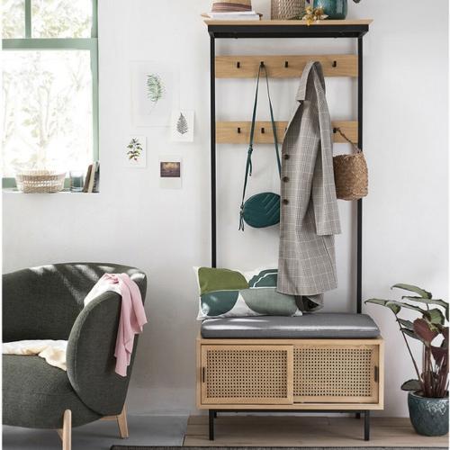 mobilier cannage tendance pas cher vestiaire petite entrée