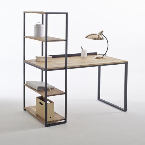 modele bureau salon exemple avec colonne de rangement métal et bois simple