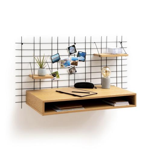 modele bureau salon exemple mural idéal petite pièce à vivre gain de place bois sobre