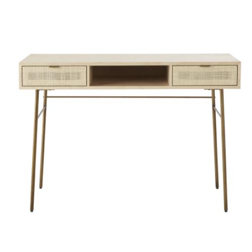 modele bureau salon exemple bois clair tiroir en cannage et niche