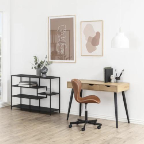 modele bureau salon exemple scandinave moderne bois pieds compas noir