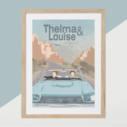ou trouver affiche film deco cine Telma et Louise illustration pastel dessin