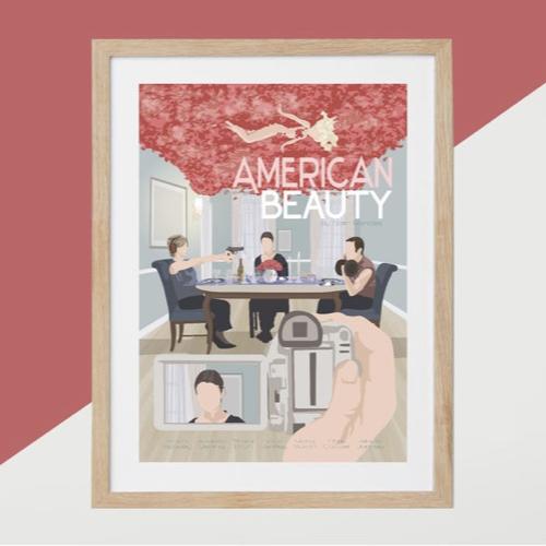 ou trouver affiche film deco cine American Beauty illustration dessin