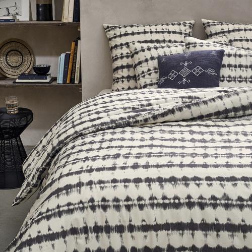 ou trouver deco chambre masculine housse de couette parure de lit blanc avec motif imprimé noir moderne usé