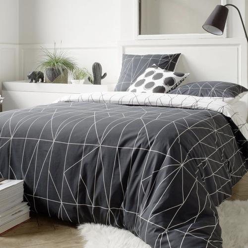 ou trouver deco chambre masculine linge de lit housse de couette noir et blanc réversible motifs géométriques
