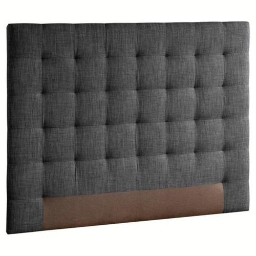 ou trouver deco chambre masculine 2 personnes tête de lit capitonnée tissus gris foncé sobre et élégant