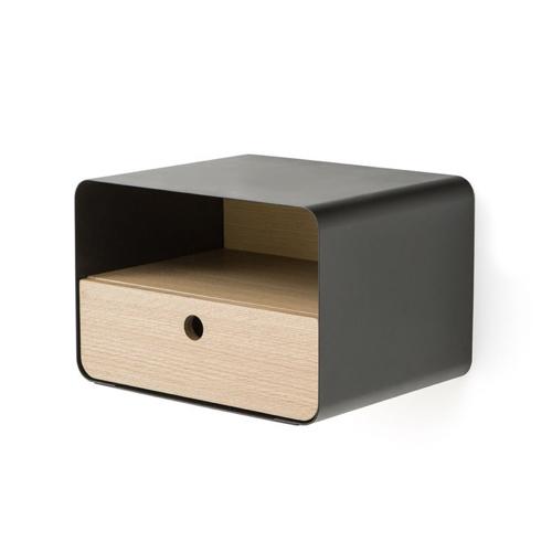 ou trouver deco chambre masculine table de nuit murale métal et bois noir simple épuré