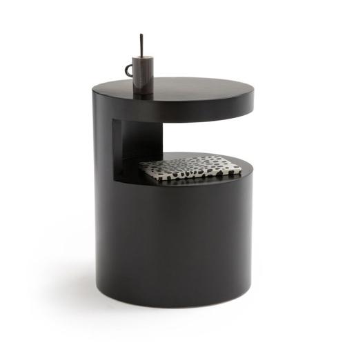 ou trouver deco chambre masculine table de nuit ronde design noir épuré moderne élégant