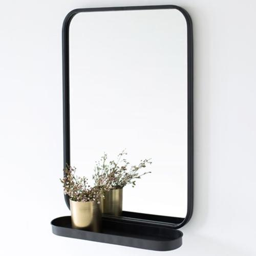 ou trouver miroir deco entree coin arrondi encadrement noir style minimaliste avec tablette