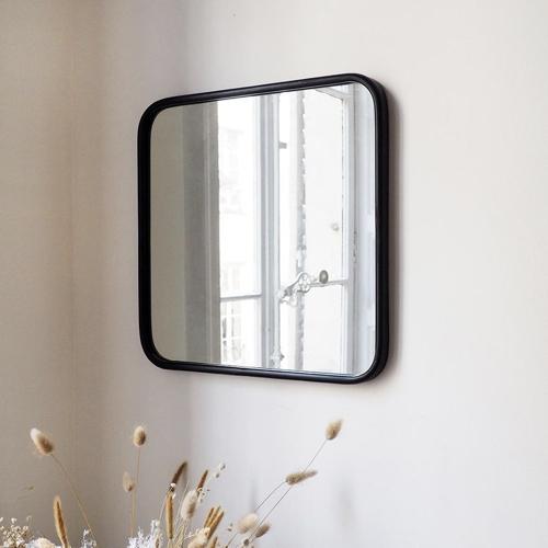 ou trouver miroir deco entree angle arrondi encadrement noir air rétro
