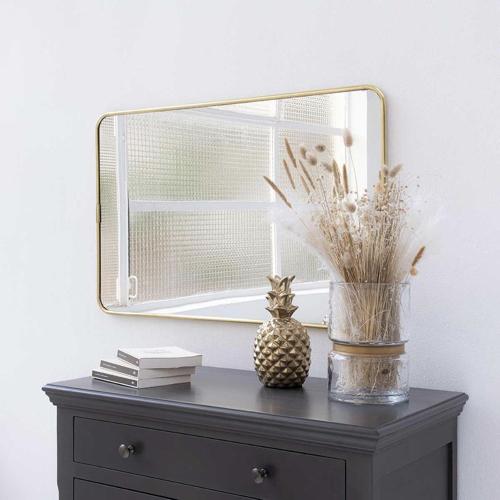 ou trouver miroir deco entree rectangulaire encadrement laiton doré or élégant rétro vintage