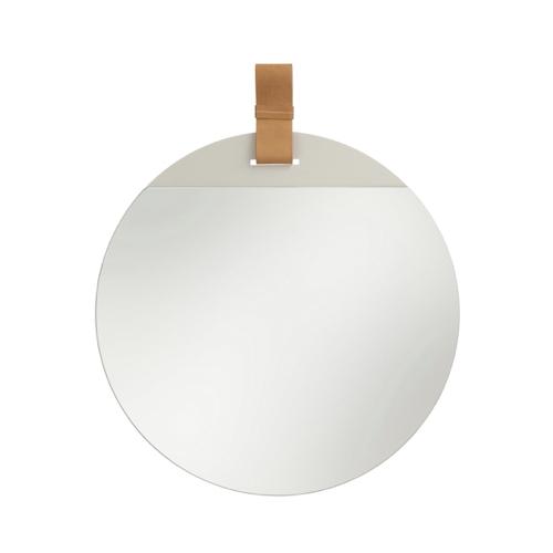 ou trouver miroir entree design attache en cuir forme rond
