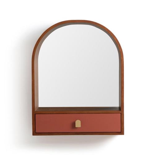 ou trouver miroir pratique entree avec petit tiroir couleur terracotta