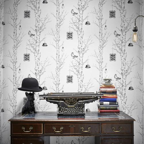 ou trouver papier peint noir blanc motif vegetal tronc arbre forêt