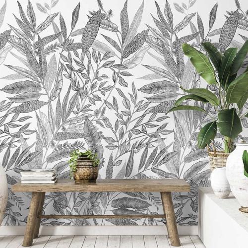 ou trouver papier peint noir blanc motif vegetal feuille tropical pas cher