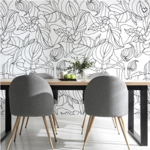 ou trouver papier peint noir blanc motif vegetal feuillage tropical exotique contours