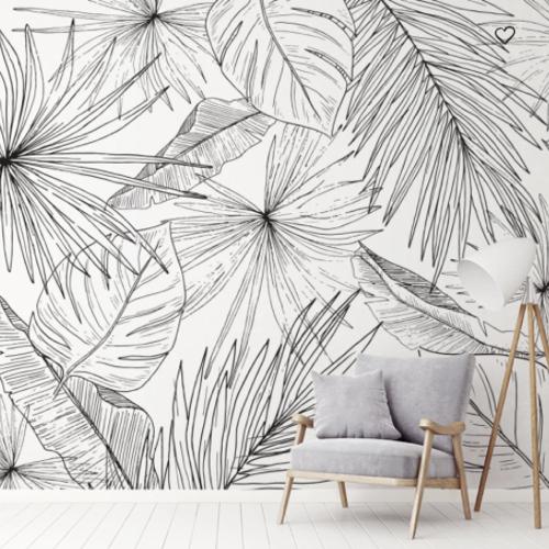 ou trouver papier peint noir blanc motif vegetal grande feuille dessin contour tropical exotique