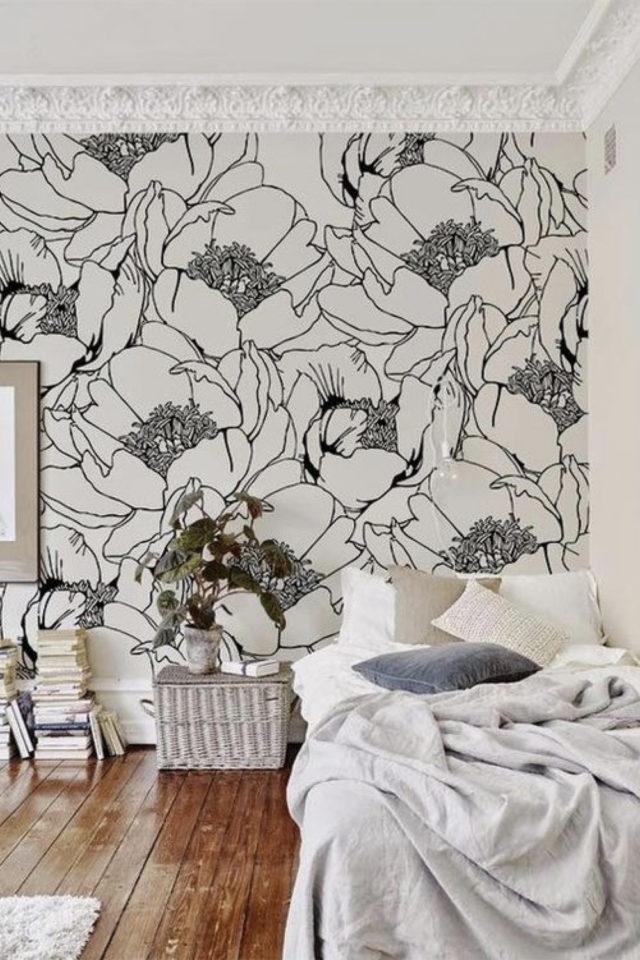 papier peint floral noir et blanc chambre adulte papier peint format XXL grand motif fleur