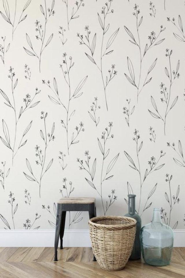 papier peint floral noir et blanc petit motif discret végétal