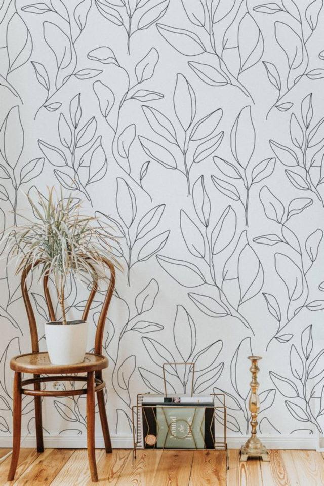 papier peint floral noir et blanc dessin contours plante fleur
