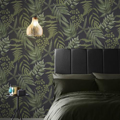 papier peint fond noir motif tropical vert kaki élégant