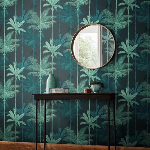 papier peint fond noir motif tropical vert