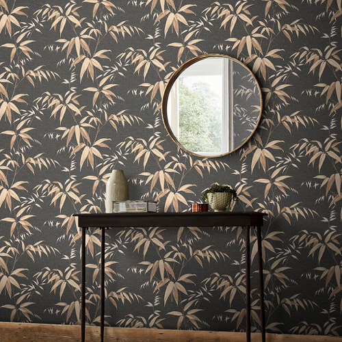 papier peint fond noir motif imprimé plantes végétal or
