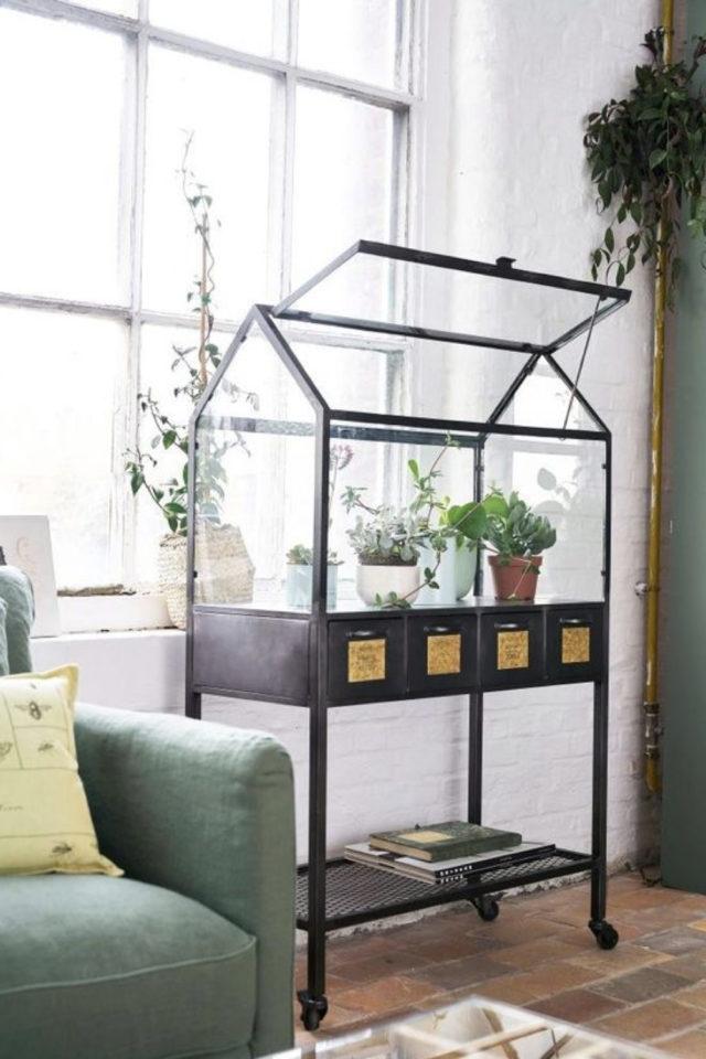 petite serre interieur decoration exemple jardinière intérieure sur pied noir
