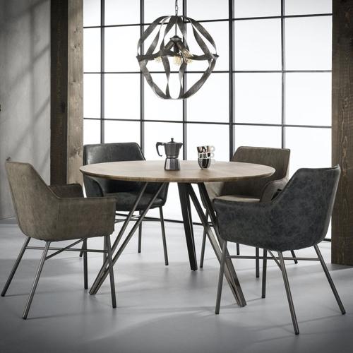 petite table coin repas decoration pied central forme épingle moderne bois métal