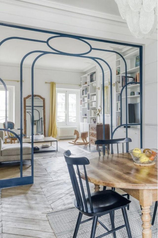 salle a manger verriere arrondie exemple métal bleu art nouveau art déco tendance style